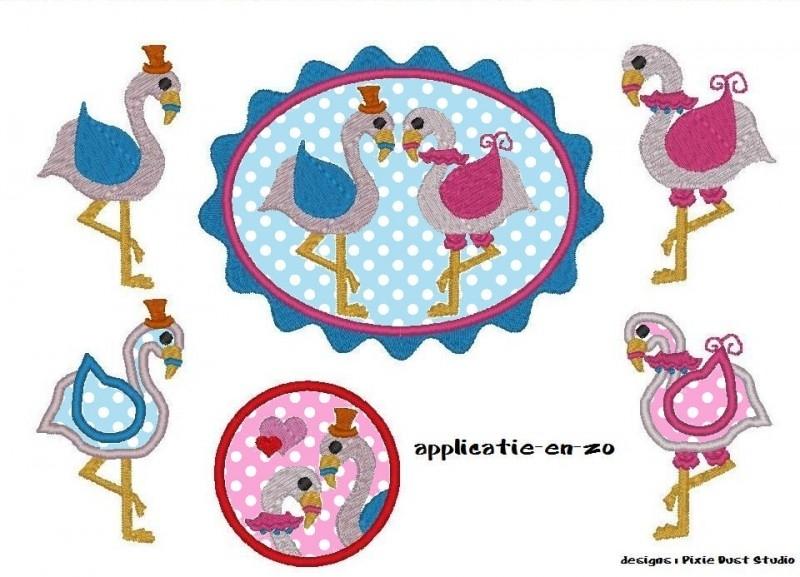 serie van 5 (of 6)  borduurmachine patronen van flamingo`s
