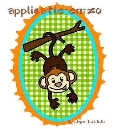 SUPER full color strijkapplicatie aapje onderste boven