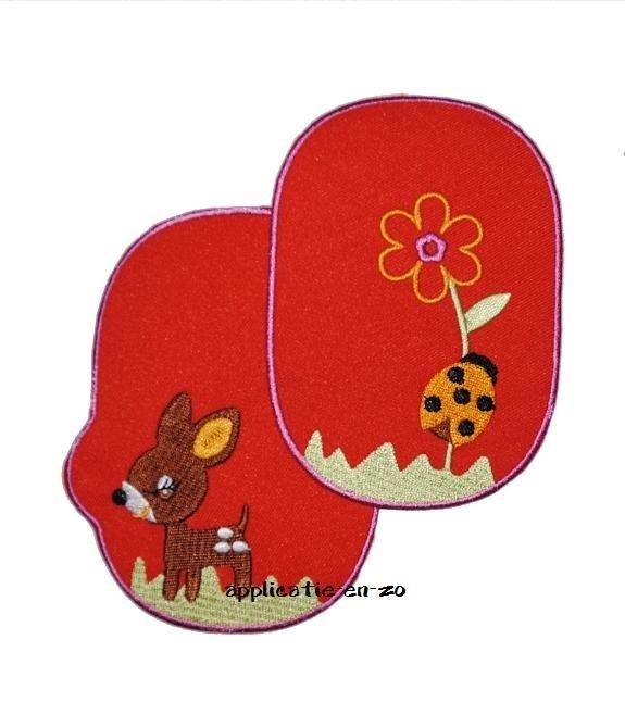 kniestukken hertje en lieveheersbeest rood (2 stuks) opstrijkbaar