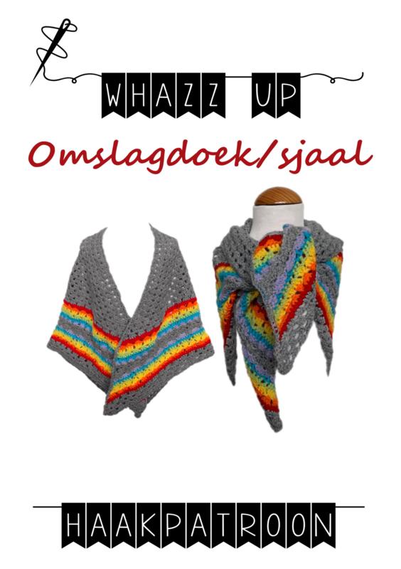 WHAZZ UP haakpatroon omslagdoek/ sjaal grijs (regenboog)