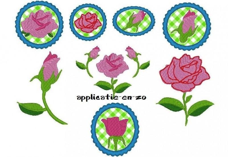 serie van 7 patronen van rozen