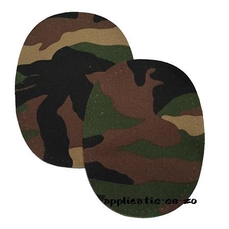 kniestukken army groen (opstrijkbaar)