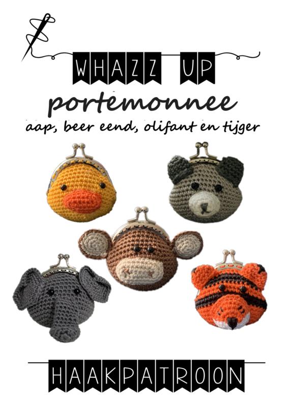 WHAZZ UP haakpatronen portemonnee aap, beer, eend, olifant en tijger