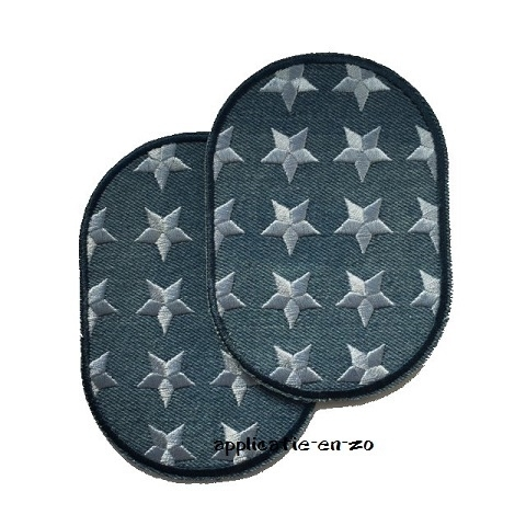 kniestukken jeans met geborduurde sterren (opstrijkbaar)