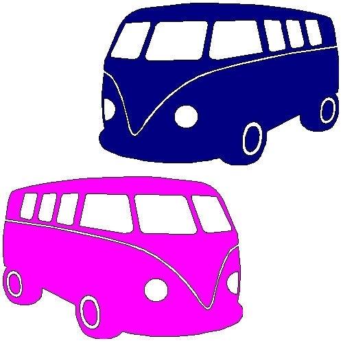 veloursmotief VW bus roze of blauw