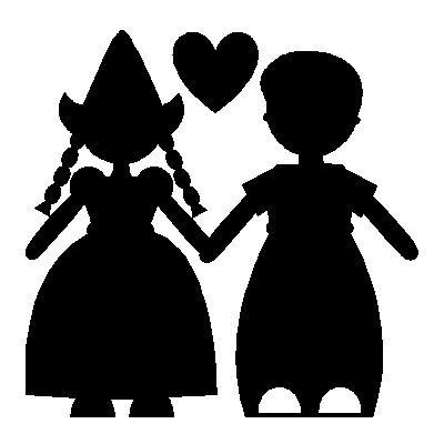 veloursmotief silhouette Boer en Zus