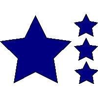 veloursmotieven set sterren (rood, wit of blauw)