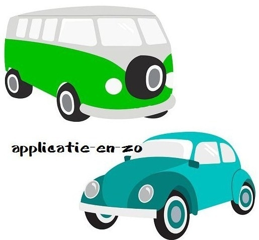 SUPER full color strijkapplicaties VW bus en kever