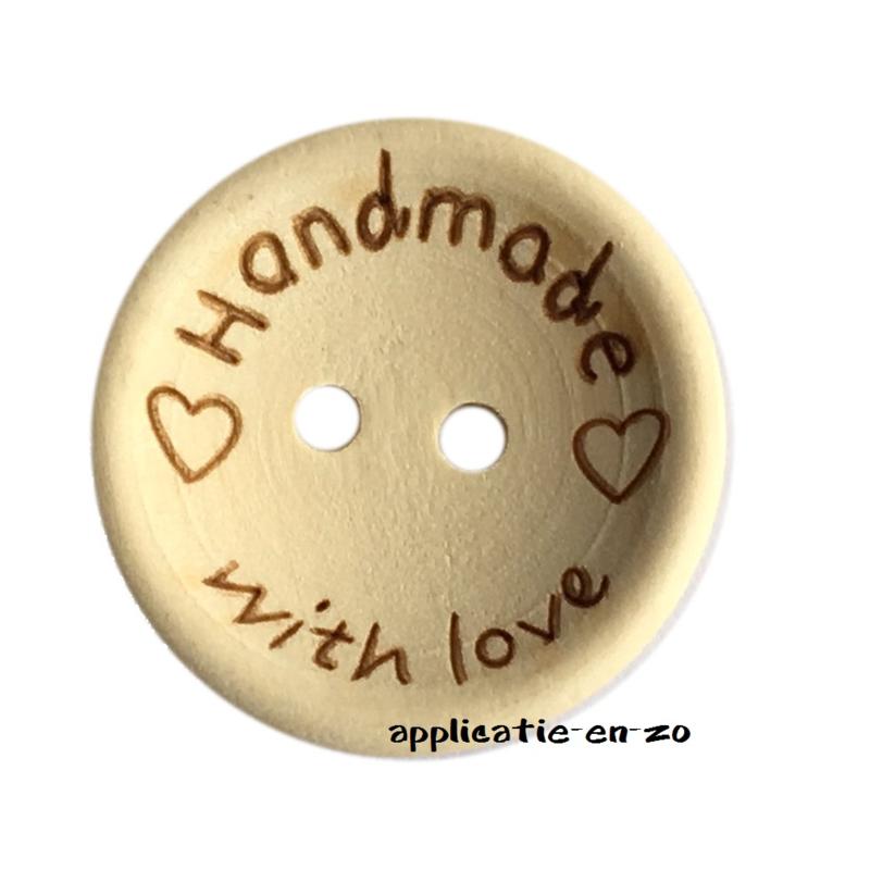 Houten knoopjes 'Handmade with love' 25mm (4st)