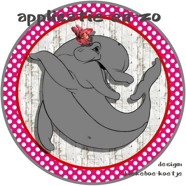 SUPER full color applicatie dolfijn roze/rood
