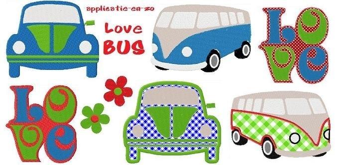 serie van 7 (applicatie) patronen Love Bus