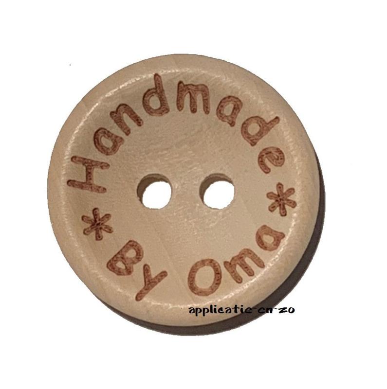 Houten knoopjes 'Handmade By Oma' 20mm (4st)