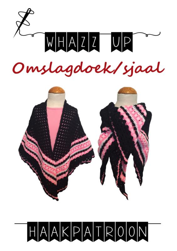 WHAZZ UP haakpatroon omslagdoek/ sjaal donker blauw