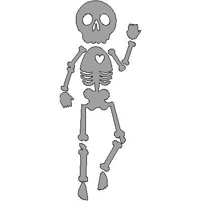veloursmotief skeletje (zilver/grijs)