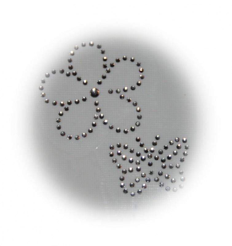 Rhinestone strijkapplicaties vlinder en bloem