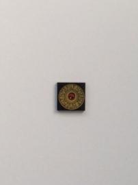 Zwarte tegel met gouden Heroica schild en runen (3068bpb420)
