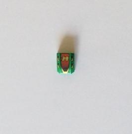 Gekromde legohelling groen met opdruk 38 (30602pb015)