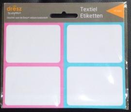 Dresz Textieletiketten blauw en roze