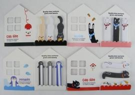 Huisje met mini dierenplakbriefjes
