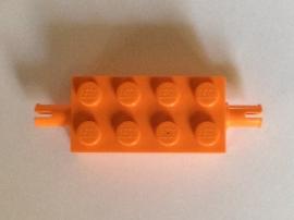 Steen 2x4 met wielpinnen oranje (6249)