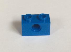 Technische steen 1x2 blauw met gat (3700)