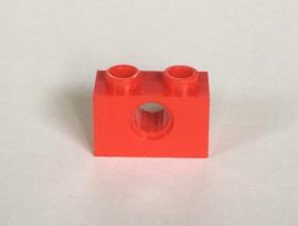 Technische steen 1x2 rood met gat (3700)