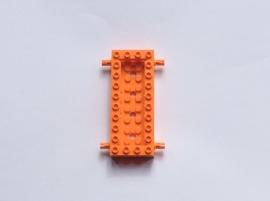 Basis oranje 4x10 met pinnen en opstaande rand (30643)