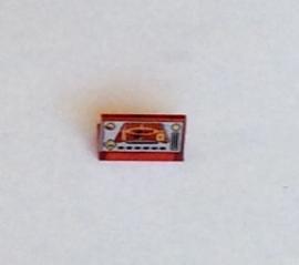 Paneel 1x2 met Ogel opdruk transparant rood (4865pb006)