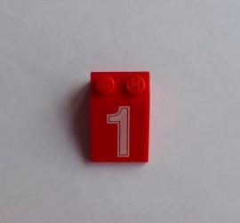 """Helling 3x2 met """"1"""" rood (3298px9)"""