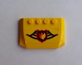 Wig 4x6x 2/3 gebogen geel  met opdruk brandweer (52031pb008)