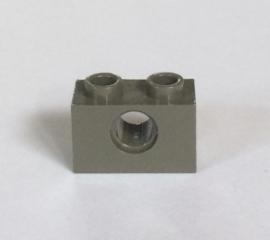 Technische steen 1x2 donkergrijs met gat (3700)