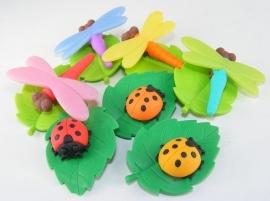 Gum lieveheersbeest of libelle op blad