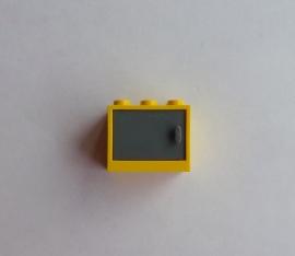 Geel kastje met grijze deur (4532a + 4533)