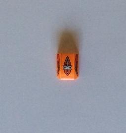 Gekromde legohelling oranje met opdruk zilveren X (30602pb006)