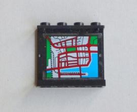 Zwart paneel met landkaart (4215pb024)