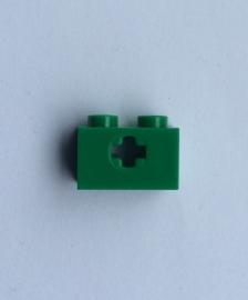 Steen 1x2 groen met axle hole (32064c)