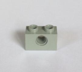 Technische steen 1x2 lichtgrijs met gat (3700)