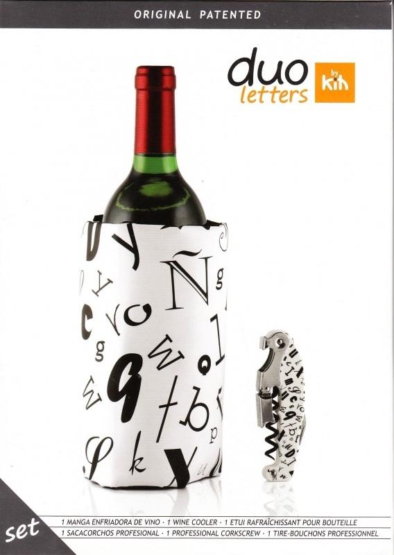 Wijnkoeler en kurkentrekker Letters