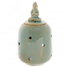 Budha op deksel Blauw