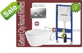 Geberit UP100/Delta21 Round rimfree toiletset -SALE-