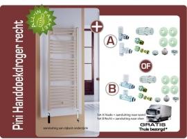 Pini designhanddoekradiator recht 150cm hoog inclusief design thermostaataansluitset