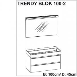 Trendy badmeubelset met spiegel met verlichting 100cm