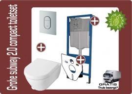 Grohe Villeroy&Boch Subway 2.0 Compact 48cm Directflush (Rimfree) toiletkombinatie