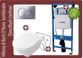 Geberit UP320 Villeroy&Boch O`Novo Directflush (Rimfree) wandklosetkombinatie
