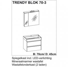 Trendy badmeubelset met spiegelkast met verlichting 70cm