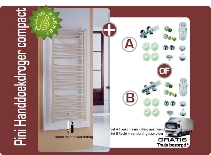 Pini designhanddoekradiator compact recht 150cm hoog (middenaansluiting 50mm) inclusief design thermostaataansluitset