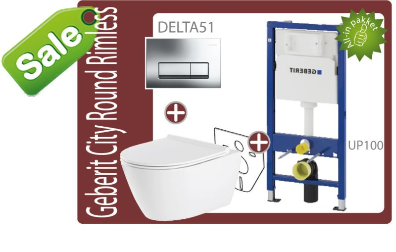 Geberit UP100/Delta51 Round rimfree toiletset -SALE-