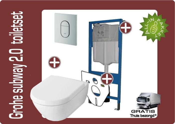 Grohe Villeroy&Boch Subway 2.0 Directflush (Rimfree) toiletkombinatie