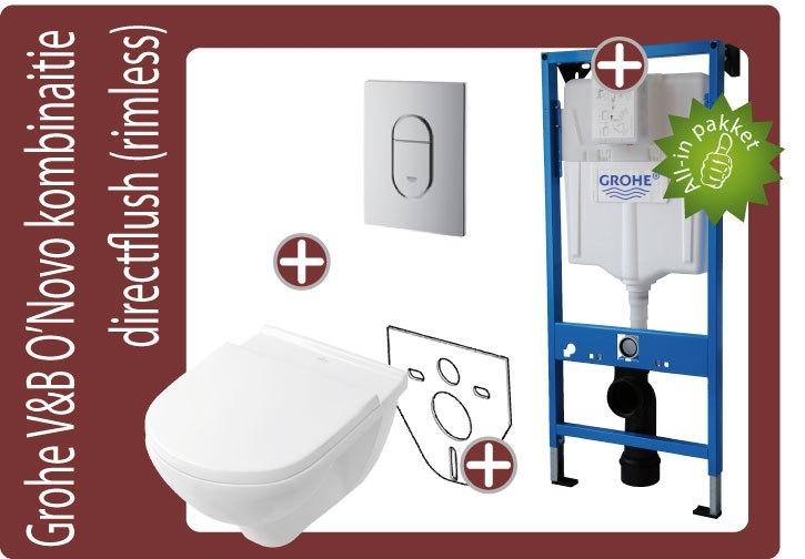 Grohe Villeroy&Boch O`Novo Directflush (Rimfree) toiletkombinatie