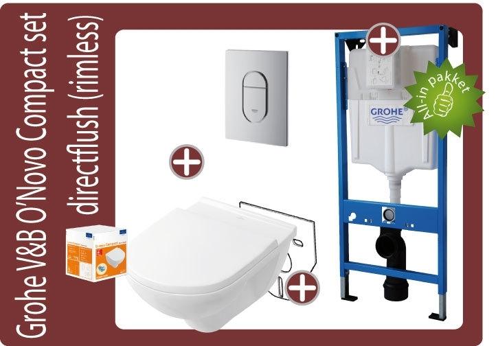 Grohe Villeroy&Boch O`Novo Compact 49cm toiletkombinatie
